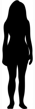 Silhouette of woman with long hair