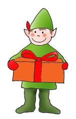 Elf with present