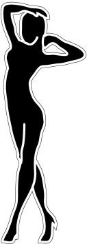 Black white silhouettes standing woman