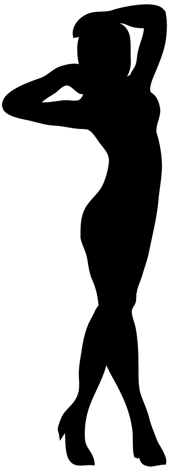 female silhouette standing woman black