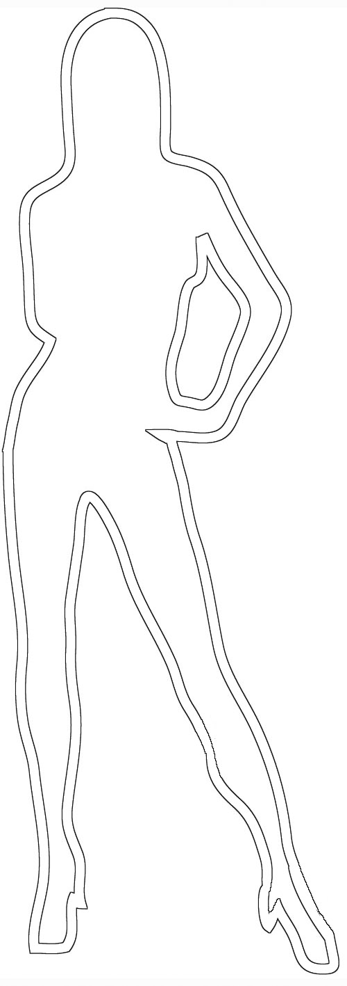 female outline standing woman