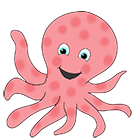 funny clip art of pink octopus
