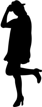 silhouette of young woman with hat