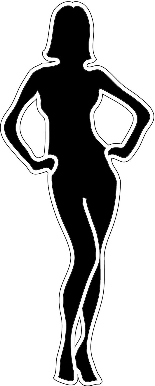Black silhouette female with outline