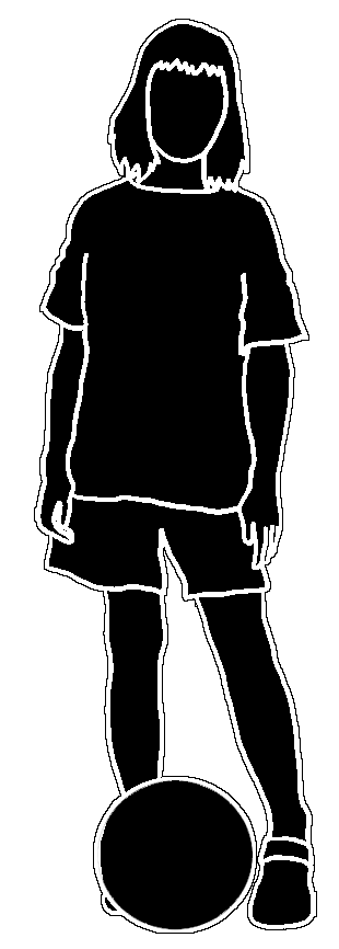 silhouette of girl with ball black white stroke