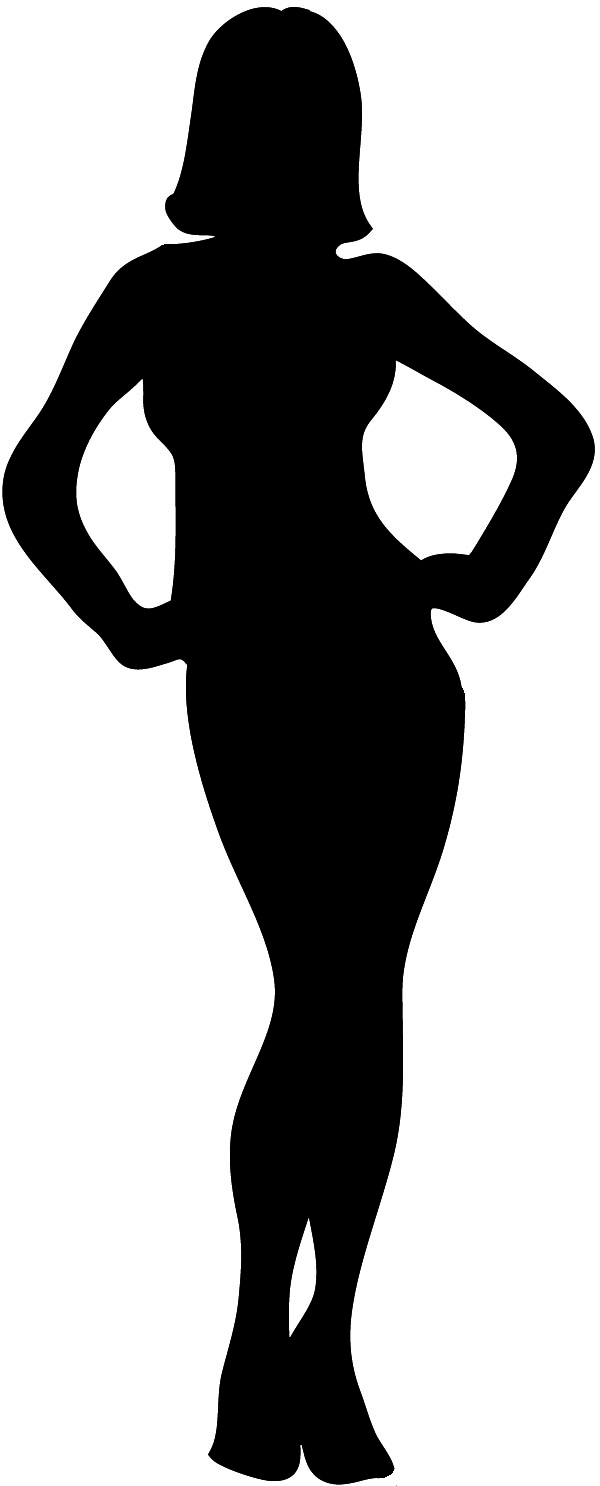 female silhouette black with outline