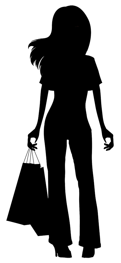 girl with shopping bags silhouette