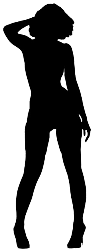 black silhouette of woman standing