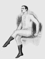 antique clip art men's stocking advertisement