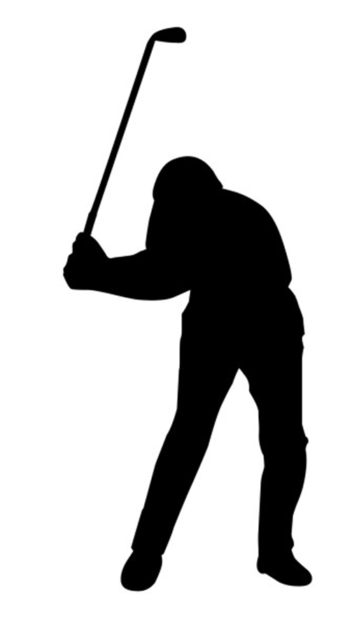 silhouette of golfplayer