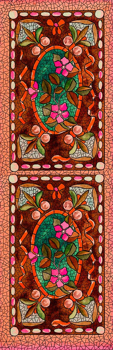 mosaics bookmark red to print