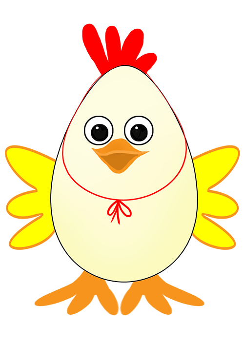 Easter egg with wings and comb
