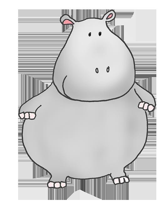 fat cartoon hippo