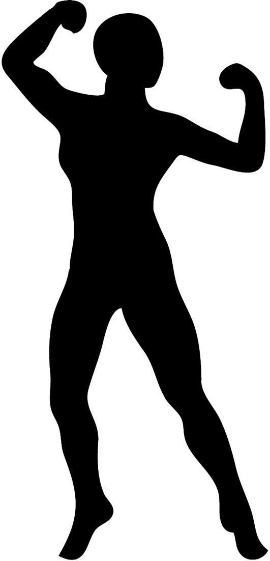 silhouette of female bodybuilder