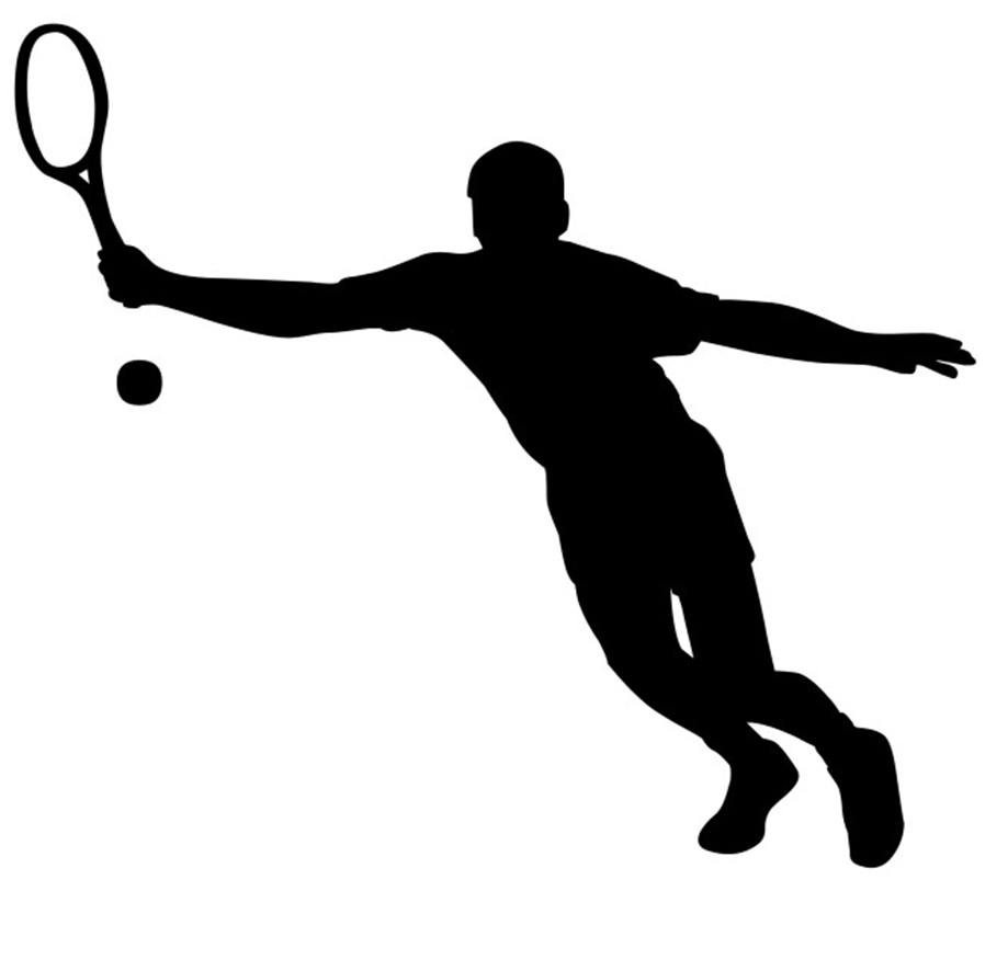 tennis player going after the ball