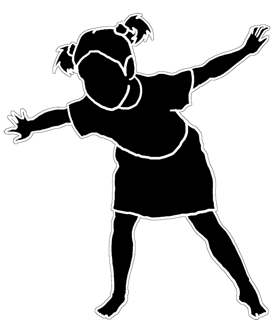 silhouette of dancing little girl