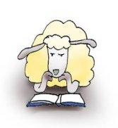 cartoon drawings of animals sheep reading
