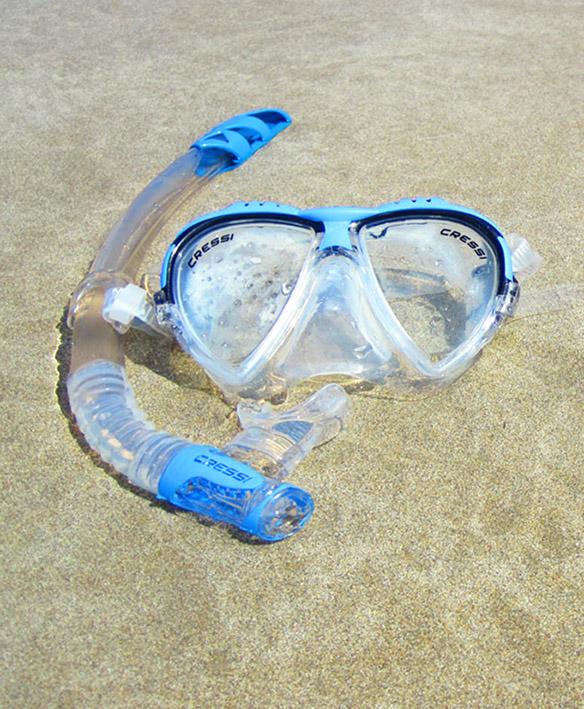 snorkel and diving glasses