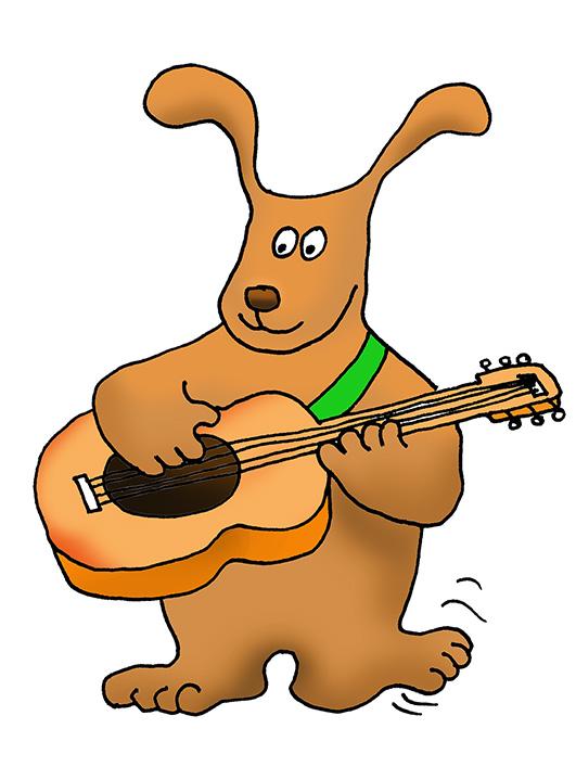 dog playing guitar