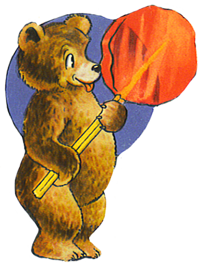 bear with giant red lollipop