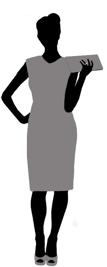 woman with purse silhouette black grey