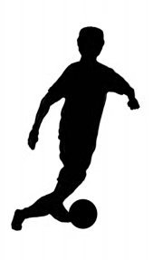 soccer player with ball black silhouette clipart