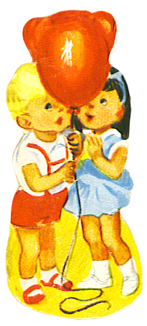 boy and girl with red balloon