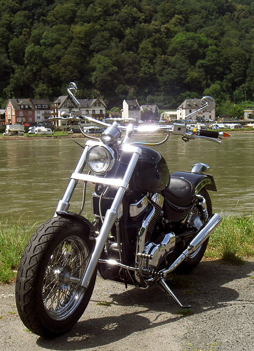 motorbike and river