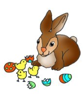 chickens and easter bunny