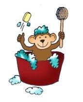 Monkey having a bath