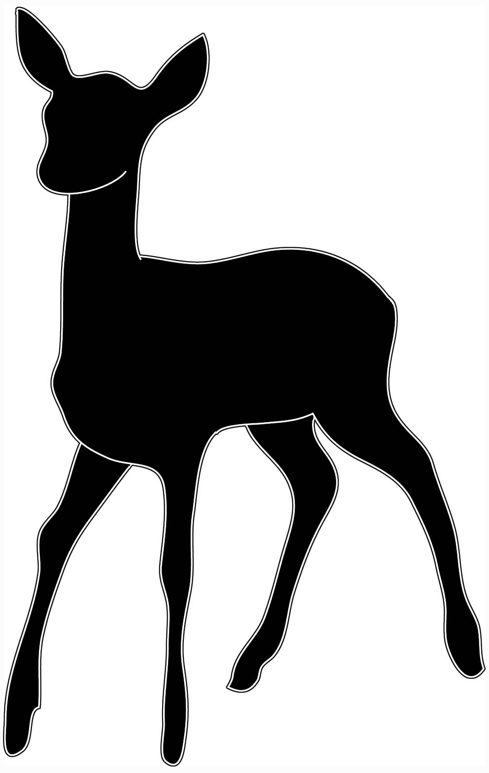 black white silhouette of young deer