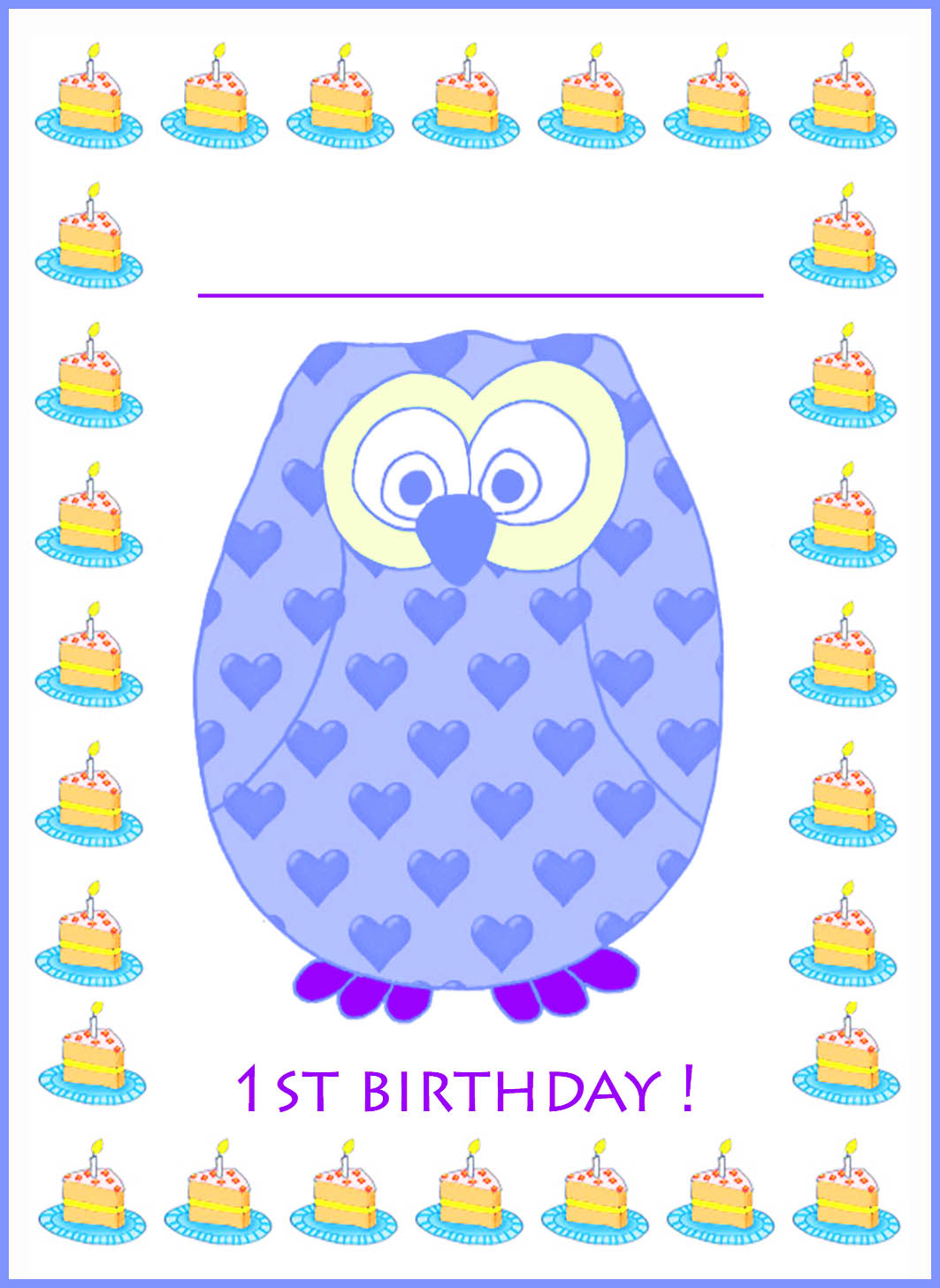 1st birthday card blue