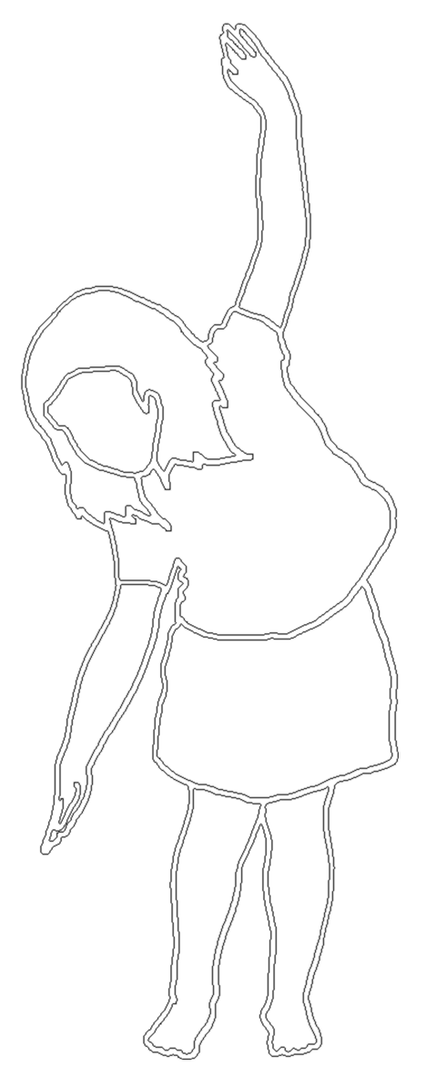 white stroke silhouette of girl dancing