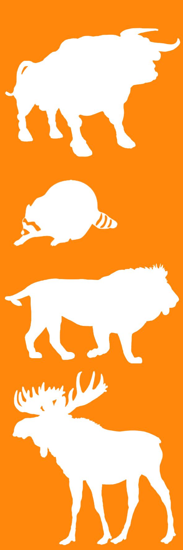 wild animal silhouettes bookmark orange