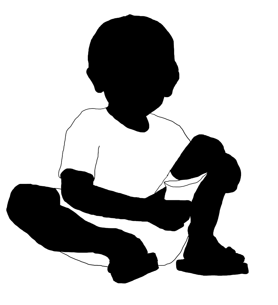 little boy with candy bag silhouette
