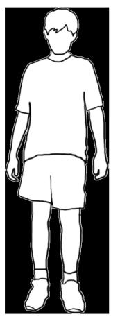 white silhouette boy black stroke