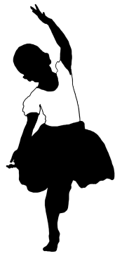 black white silhouette of girl dancing ballet