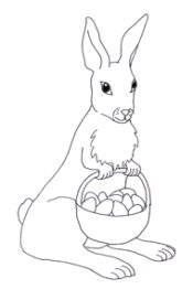 easter bunny with basket and eggs sketch