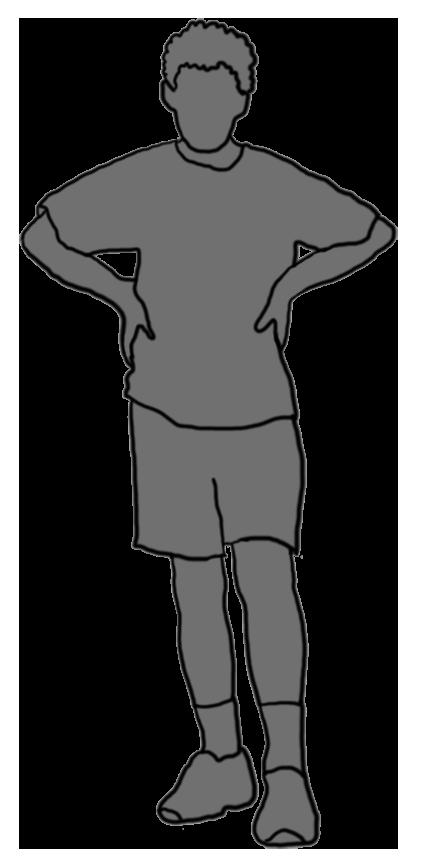 grey silhouette boy standing