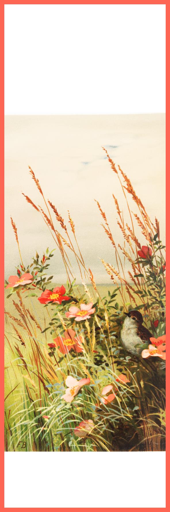 free printable bookmark flowers bird