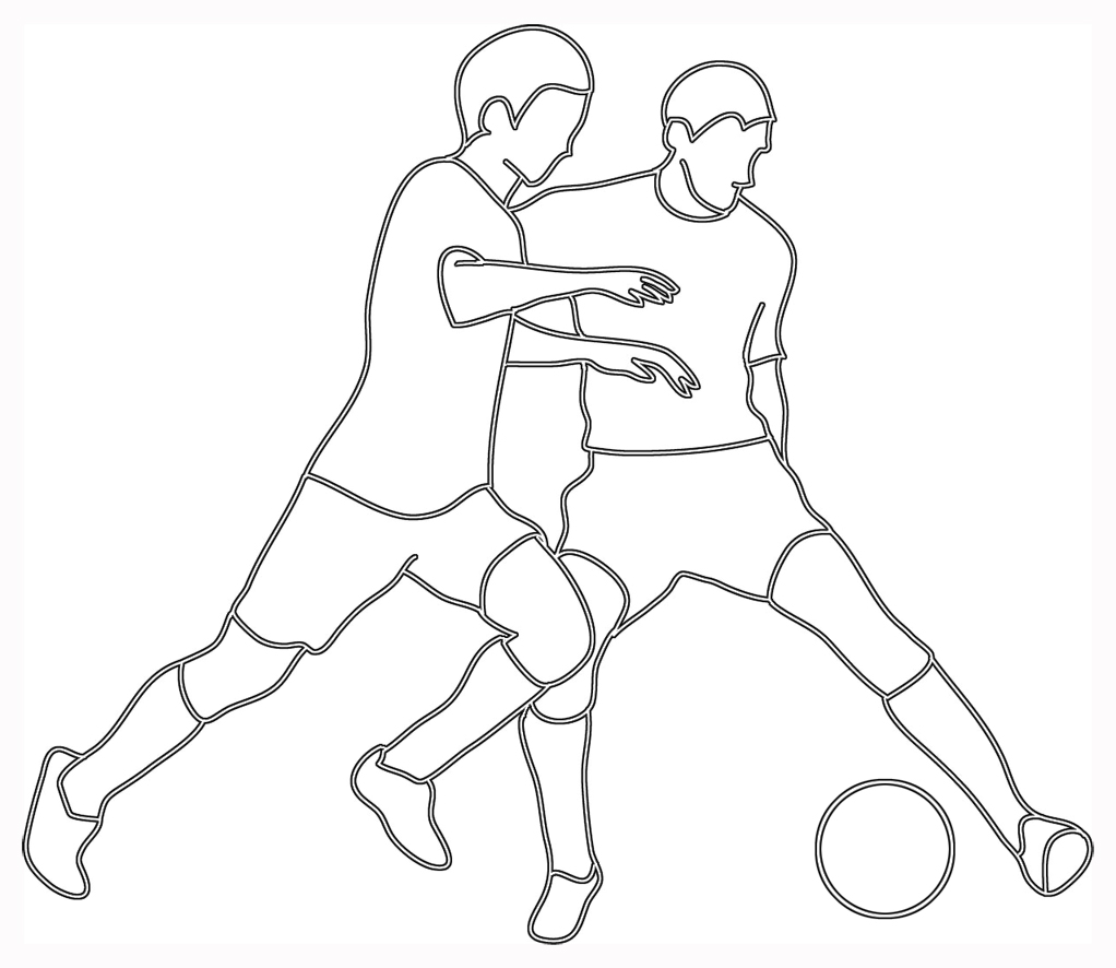 soccer clipart two players ball
