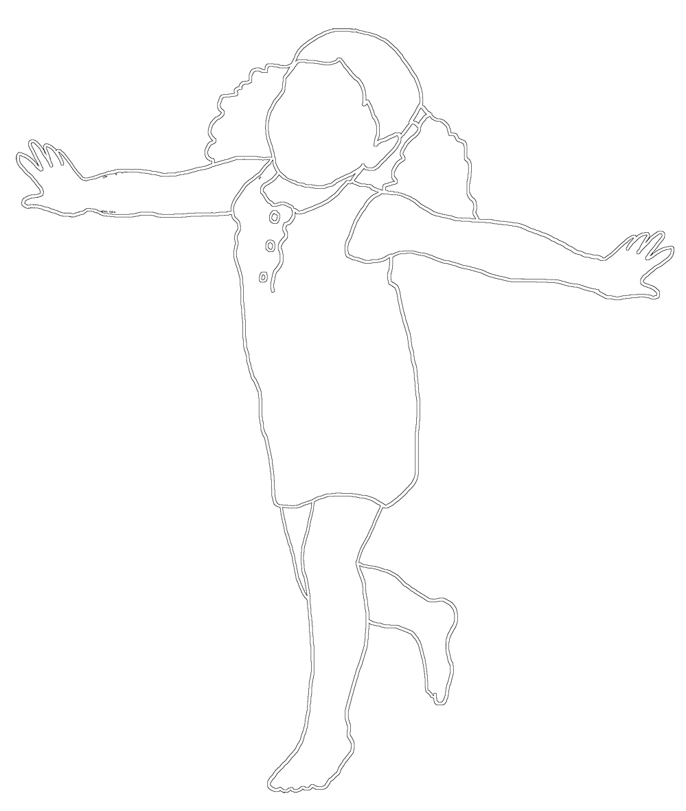 stroked silhouette of girl playing