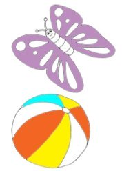 Beach  ball and butterfly