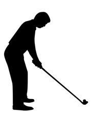 silhouette of ready golf player