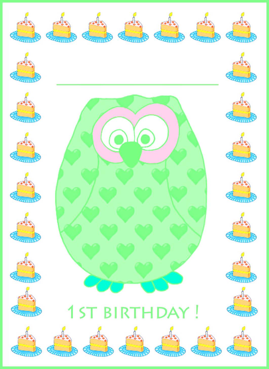 green 1st birthday invitation