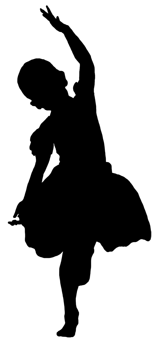 silhouette of dancing girl black