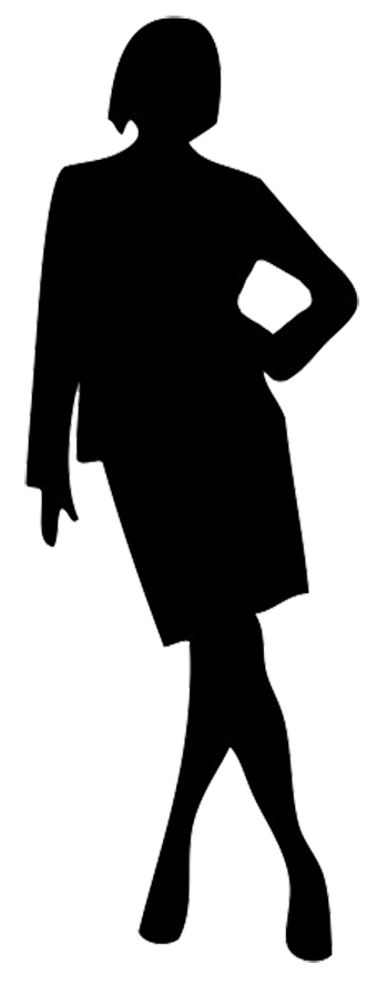 Casually standing woman silhouette
