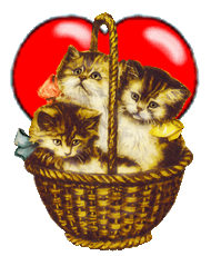 Valentine clipart kittens in basket heart
