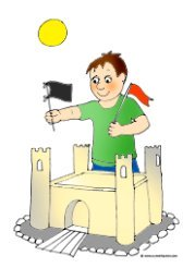 summer clip art sand castle boy flags