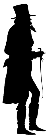 Victorian man silhouette with whip